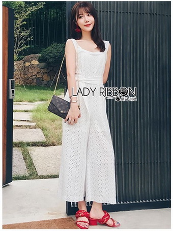 Basic Lady Ribbon Laser-Cut Jumpsuit