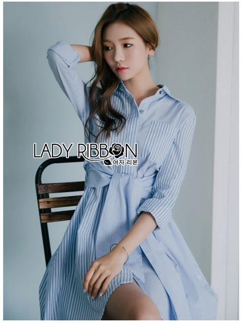 Twisted Cotton Dress Lady Ribbon ขายเดรส