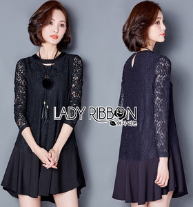 Lady Ribbon Lady Ciara Everyday Look Lace and Crepe Peplum Dress