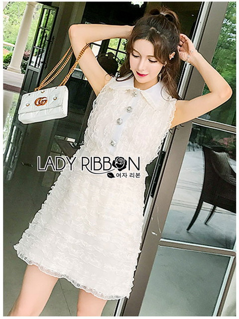 Lady Ribbon White Lace Shirt Dress เชิ้ตเดรส