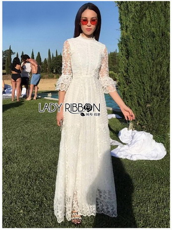 Princess White Lace Maxi Dress