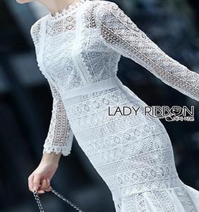Lace Ruffle Dress Lady Ribbon เดรสลูกไม้สีขาว
