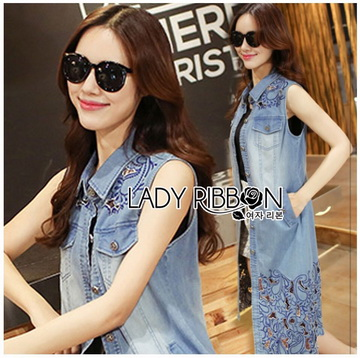 Lady Ribbon Online ขายส่งเสื้อผ้าออนไลน์ ขายส่งของแท้พร้อมส่ง Lady Ribbon LR05250716 &#x1F380 Lady Ribbon's Made &#x1F380 Lady Shannon Embroidered and Laser-Cut Denim Shirt Dress