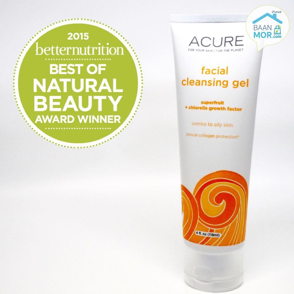 Acure organic facial cleansing gel ด้วยส่วนผสมธรรมชาติจาก super fruit และ chlorella growth factor เจลล้างหน้าสูตรอ่อนโยน บำรุงผิวร่วมกับทำความสะอาดผิวได้สะอาดหมดจด ได้รางวัล &#x1F389 Best of Natural beauty award winner จาก betternutrition 2015 ค่ะ เหมาะสำ