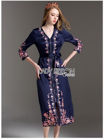 Lady Claire Modern Navy Crepe Long Dress