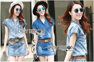 Lady Ribbon Online เสื้อผ้าออนไลน์ ขายส่งของแท้ราคาถููก LR11110716 &#x1F380 Lady Ribbon's Made &#x1F380 Lady Cindy Little Western Cowboy Denim Shirt and Shorts Set with Belt