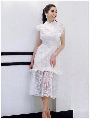 Lady Ellie Fancy Ruffle White Lace Dress