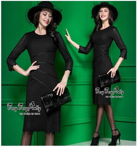 ชุดเดรสออกงานสีดำงานสวยค่ะ เสื้อผ้าเกาหลีเนื้อผ้า