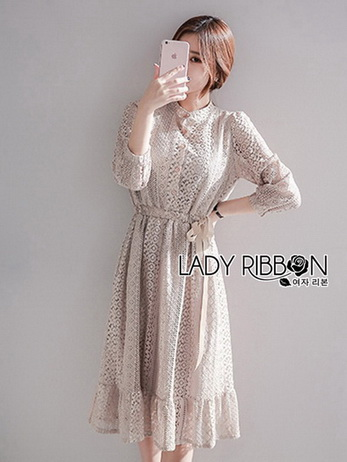 Gracious Gray Lace Midi Dress