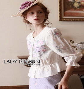 Rose Embroidered Peplum Top Lady Ribbon เสื้อผ้าคอต