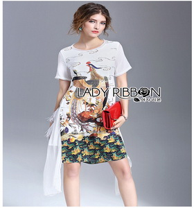 Lady Ribbon Polyester and Chiffon Dress