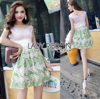 Lady Ribbon Online เสื้อผ้าออนไลน์ขายส่ง Lady Ribbon เสื้อผ้า LR16180816 &#x1F380 Lady Ribbon's Made &#x1F380 Lady Vivienne Sweet Elegant Flower Embroidered Pink Dress เ