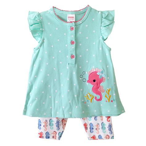 ขายส่งเสื้อผ้าเด็ก ชุดเสื้อเลกกิ้งขา 4 ส่วน ปักลายม้าน้ำน่ารัก Size 9/12, 12/18, 18/24 เดือน