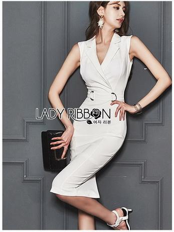Chic Lady Ribbon Clean White Suit Dress