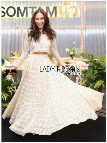 Lady Maryanne Cream Lace Cropped Top and Maxi Skirt