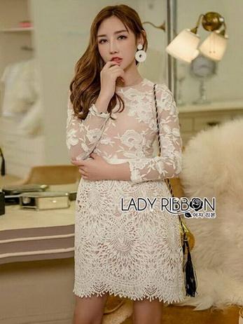 Lady Gabriella Elegant Chic Mixed Lace Dress