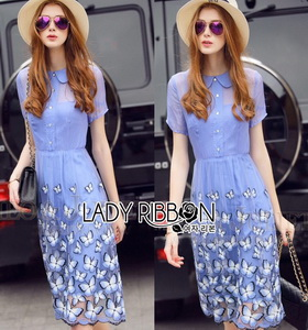 Lady Ribbon Embroidered Polyester Dress