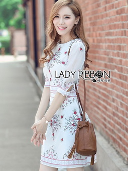Lady Ribbon Online เสื้อผ้าออนไลน์ขายส่ง Lady Ribbon เสื้อผ้า LR03180816 &#x1F380 Lady Ribbon's Made &#x1F380 Lady Serena Smart Feminine Embroidered Cotton Dress