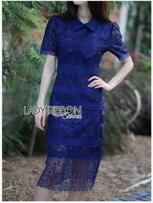 Lady Linda Preppy Chic Collared Lace Dress