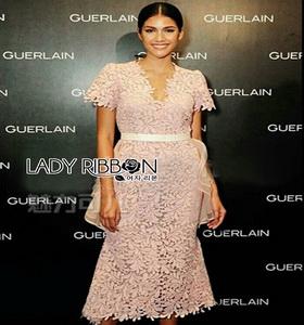 Lady Ribbon Pink Lace Dress with Organza Ruffle