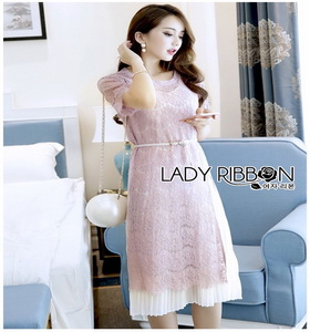 Lady Ribbon Jane Pure Elegant Pink Lace Over Pleated Chiffon Dress