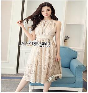 Classic Elegant Lace Dress Lady Ribbon เดรสผ้าคลาสสิก
