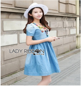 Blue Denim Dress Lady Ribbon เดรสผ้าเดนิม