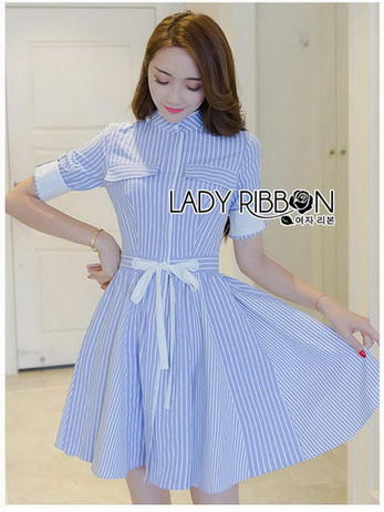 Lady Christine Striped Blue & White