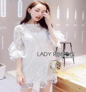 Classic White Lace Dress Lady Ribbon เดรสผ้าลูกไม้สีขาว