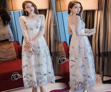 ชุดเดรสผ้ามุ้งเกาหลีสีขาว
