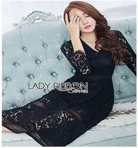 Lady Ribbon Mini Dress เดรสลูกไม้สีดำ