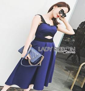 Lady Ribbon Rosie Sexy Blue Dress เดรสสีน้ำเงินสด