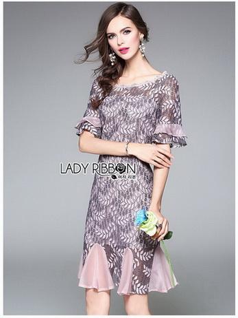 Lady Hudson Ruffle Grey & Pink Lace Dress