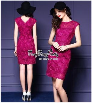 Lady Ribbon Online ขายส่งเสื้อผ้าออนไลน์ Very very pretty เสื้อผ้า VP0110816 Luxurious Floral Embroidery Lace Dress