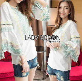 LR02290816 &#x1F380 Lady Ribbon's Made &#x1F380 Lady Cori Pastel Embroidered Ruffle-Sleeve Cotton