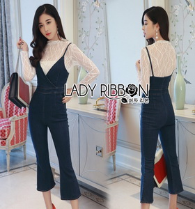 Lady Ribbon Miranda Lace and Denim Jumpsuit