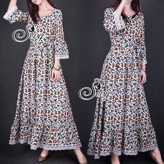Sevy Bohemian Gifts Cowboy Long Sleeve Maxi Dress (Belt)