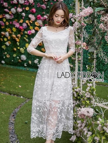 Lady Eves Princess Style White Lace Dress