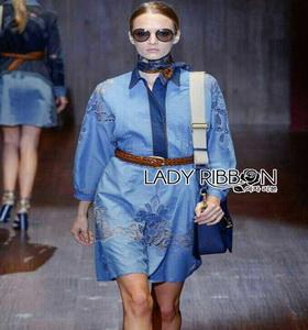 Gucci Blue Denim Shirt Lady Ribbon Dress เชิ้ตเดรส