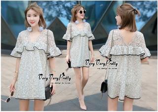 VP02310816 Luxury Floral Embroidery MINI Dress มินิเดรสสไตล์เกาหลี น่ารักมากค่ะ