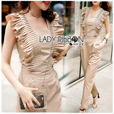Beige Gold Lady Ribbon Jumpsuit