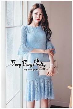 ชุดเดรสเกาหลีผ้าลูกไม้แขนยาวสีฟ้า