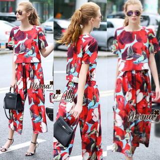 Lady Ribbon Online เสื้อผ้าออนไลน์ขายส่ง Normal Ally เสื้อผ้า,NA06220816 &#x1F389Normal Ally Present D&G Apple Summer casual set&#x1F389 (เสื้อ + กางเกง)
