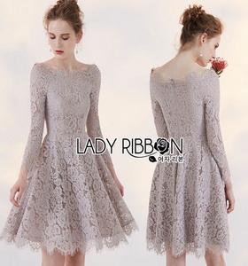 Lady Ribbon Vanessa Classic Feminine Pale Grey Lace Dress
