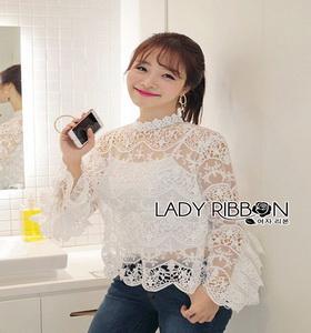 Lady Ribbon White Lace Blouse with Ribbon