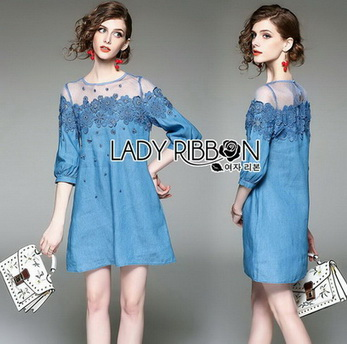 Lady Erin Casual Denim and Lace Mini Dress