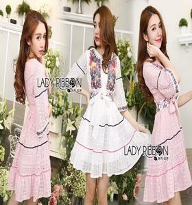 Lady Ribbon Alberta Sweet Tribal Lace Mini Dress
