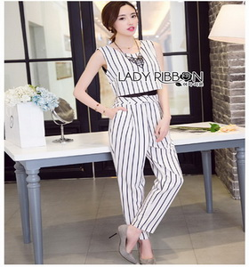 Minimal Chic Striped Cropped Jumpsuit Lady Ribbon จัมป์สูท