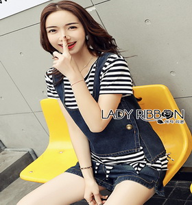 Lady Ribbon Cindy Striped Denim Tank Set