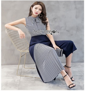 Lady Ribbon Scarlett Smart Casual Striped Ribbon เสื้อแขนกุด